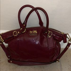 Wine Patent Leather Coach Satchel Bag